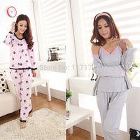 100% cotton pajamas - 2014 Hot Sleepwear Autumn Spring Winter Rose Women s Sexy Long sleeve Cotton pieces Pajamas Sets pajamas sleepwear sleeping clothes