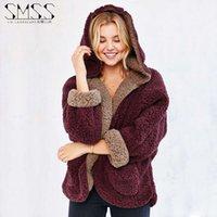 Wholesale 2016 Solid Women Winter Reversible Coat Batwing Sleeves Hooded Lamb Fur Plush Loose Casual Warm Jacket Female Short Parka Cashmere Cardigans