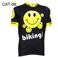 Wholesale 2016 Smile Face Black Cycling Jersey Carton Cycling Shirts Breathable Bike Cloth Novel Short Sleeve Cycling Jerseys New Arrival