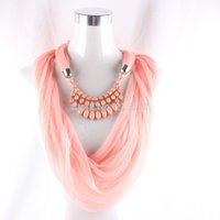 beaded scarf necklace - Elegant Women Ladies Statement Necklace Scarves Pendant Jewelry Tassel Beaded Beads Collar Scarf Shawl FEAL S86