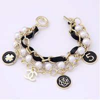 Wholesale 2015 Korean Bracelets Fashion Pearl Chain Bangles Women Jewelry Girl Retro Charm Bracelets Lady Hand Accessories A11437