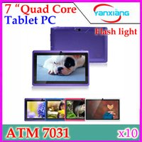 Wholesale 7 Inch ATM Quad Core Tablet PC Q88 Android Kitkat Dual Camera with Flash light ATM Quad Core Boxchip Wifi OTG Webcam YX MID