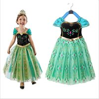 Girl Cartoon Star Polyester 5pcs lot quality 2014 New frozen anna cosplay princess dress character costume for kids birthday party dresses anime cosplays