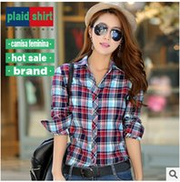 Wholesale 2016 spring new lover shirts full sleeve women slim plaid shirt dance fashion man woman tops Crazy