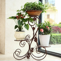 Wholesale solostock European simple iron flower the living room floor type flowerpot rack multi layer frame of bonsai