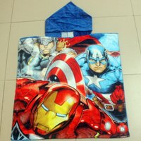 Wholesale Hooded Beach Towels Despicable Me The Avengers Spider Man McQueen Cartoon Boys Beach Towel Cotton Durable Towels High Water absorbent