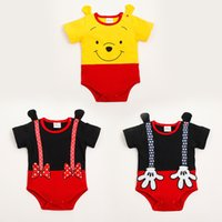 Cheap 2015 Baby clothing Rompers Bodysuits infant one-piece newborn Jumpers short sleeve rabbit Mickey Minnie kid clothes wear Summer