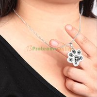 Wholesale New Silver Black White Diamond Accent Dog Paw Print Pendant Necklace With Chain