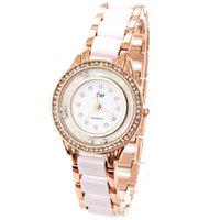Wholesale Watch Round Dial Diamond Fashion Imitation Ceramic Watches Brand Bracelet Chain White Rhinestone Watches