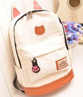 Wholesale Fashion New Hot cat ears woman canvas backpacks school bag for teenagers cute backpack students mochila bagpack