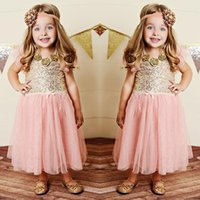Wholesale 2015 New Lovely Princess Girl Ball Gown Cute Lace Children Dresses Blingbling Party Girls Dress