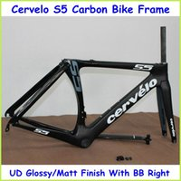 carbon road bike frame - 2015 New Arrival S5 Road Carbon Bike Frame UD Weave Black Color With BB Right Full Carbon Bike Parts Size cm Bicycle Frame