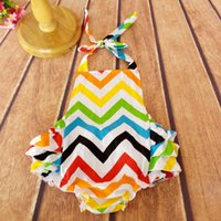 chevron clothing - Rainbow Chevron Baby Clothes petti Girls Bubble Rompers Multi color chevron Baby jumpsuit With Tie Romper in Stock