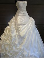 Wholesale Romantic flower gorgeous furbelow edge sweetheart strapless dress beautiful crystal amazing wedding dress Real figure