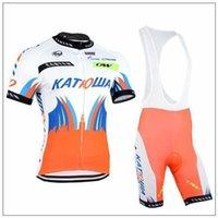 Wholesale 2015 New Katowa Cycling Jersey Sets Short Sleeve Orange Bib None Bib Mountain Cycling Clothing High Elastic Top Padded Pants size XS XL
