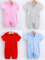 baby shortalls - Hooded Baby Girls Rompers Shortalls Polo Toddler Hoodies Romper Cotton Outfits Retail