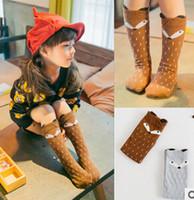 Wholesale 2015 hot sale latest fashion degins cartoon fox kids knee high baby girls socks girl legging socks