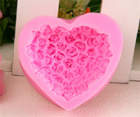 Wholesale 2015 Fashion D Silicone Rose flower Cake mold heart shape chocolate candy Molds Soap Ice rose cake mold for valentine s day gift