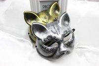 Wholesale R H New Men women s gatto masks retro plastic gold silver colors half face drop shipping fancy festive party supplies