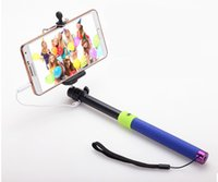 Wholesale Hot in1 Audio cable handheld Selfie stick phone camera self timer shutter for iPhone Samsung Portrait controler no need bluetooth monopod