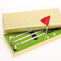 aluminum golf clubs - Golf Club Golfers Replica Aluminum Alloy Ballpoint Pens Balls Flag Gift Box Set