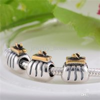 Wholesale New Sterling Silver Charms Original Screw Thread Crimp End LW027 Gold Pocket Bag Beads Compatible With European Pandora Bracelets