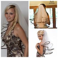 Wholesale Top Sale Camo Short Bridal Veils Elbow Length Tulle Camo Ribbon Edge Wedding Veils Hair Pieces For Brides Custom Bridal Wedding Accessories