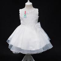 Wholesale New Sleeveless Waist Chiffon Dress Girls Toddler Flower Lace Tutu Dress Layered Princess Party Bow Kids Formal Dress