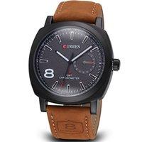 Men's Water Resistant Round 2015 CURREN brand watch Japan movement analog genuine leather watch men calendar date dress wristwatch 30m waterproof