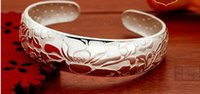 Cheap 925 Sterling Silver bangles Chinese style lasting color retention opening adjustble jewelry bangle for women