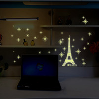 bar wallpapers - Fashion Paris Eiffel Tower Home Decorating Tools Glow Wall Sticker Fluorescence Decals Wallpaper Stickers Bar Coffee Shop Decor