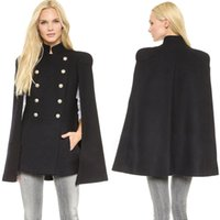 Wholesale 2014 Fall New Best Cheap Wool Outerwear Coats With Batwing Sleeve Black Women s Double Breasted Capes Wool Blend Coat Cappa Jacket Cloak