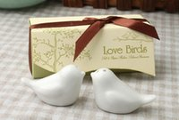 Wholesale Love Birds Ceramic Salt And Pepper Shakers Personalised Wedding Favors White Free china post
