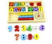 Precio de Cajas de madera relojes-Al por mayor-Freeshipping! 2015Hotselling bebé de múltiples funciones de aprendizaje digital caja de juguete bloques de madera que la alarma del reloj ábaco uno de juguete