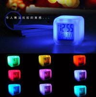 Wholesale New Design Alarm Clock Color Change Digital Alarm Clock Colorful Changing in Night Hot Gift