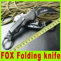 Folding Blade   2014 Best karambit FOX claw knife folding fixed hunting 59HRC Thickness outdoor survival knife tactical camping utility hiking knives 387X