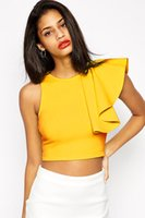 women crop tops - Plain Women Summer Sleeveless Tank Top Fashion M L Black Yellow One shoulder Ruffle Bandage Crop Top CAMISOLE