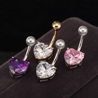 bells heart shape - Delicate Button Bar Navel Belly Ring With Heart Shape Crystal Colors Fashion Piercing Body Jewelry Body For Women Belly Dance Accessories