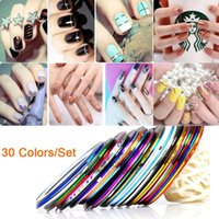 beauty advice - 30 set Mixed colorful beauty rolls alternating foil stickers advice line DIY nail design stickers nail jewelry tools
