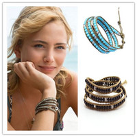 Wholesale unisex turquoise wrapped leather cord bead charm jeseny bracelet for men and women