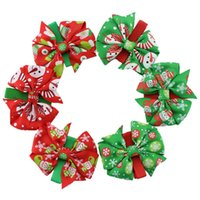 hair ribbon - Newest Kids Girls Christmas Ribbon Bowknot Hair Clips Baby Girl Floral Princess Bow Barrettes baby hair accessories