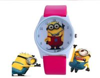 Wholesale Despicable me children watch god steal dads cartoon yellow leather watch boys and girls Christmas free of charge
