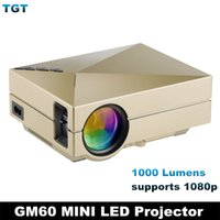 Wholesale DHL GM60 Multimedia Mini portable LED Projector Lumens x1080 Video USB VGA SD Home Video GM HDMI Projector Proyector Beamer