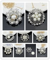 no minimum order - Cheapest High quality Platinum Silver Flower White Pearl Brooch juego de tronos Bouquet for wedding No minimum order