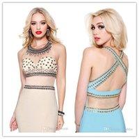 Cheap Hot Sale Sexy See Through Evening Dress Halter Sheath Beaded And Peplum Prom Dress Chiffon Tull Custom Made