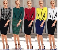 Summer tunic - 2015 Womens Elegant Front Zipper Sleeve Colorblock Tunic Business Casual Wear To Work Party Pencil Sheath Patchwork Zip Dress DK4454XL