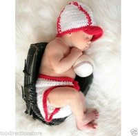 Wholesale Baseball Cotton Baby Newborn Knit Crochet Costume Infant Photo Prop Outfits P1