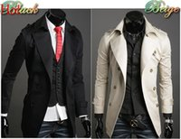 mens trench coats - 2015 Autumn Trench Coat Men Double Breasted Trench Coat Men Outerwear Casual Coat Mens Jackets Windbreaker Mens Trench Coat Black Beige