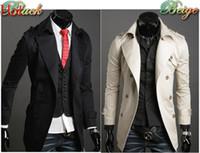 mens trench coat - 2015 Autumn Trench Coat Men Double Breasted Trench Coat Men Outerwear Casual Coat Mens Jackets Windbreaker Mens Trench Coat Black Beige