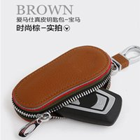 audi luxury - Luxury Genuine Leather Car Key Wallet Holder Bag Cover for Auto BMW Cadillac Lexus Audi BENZ HONDA Toyota etc Keychain Ring Dropship